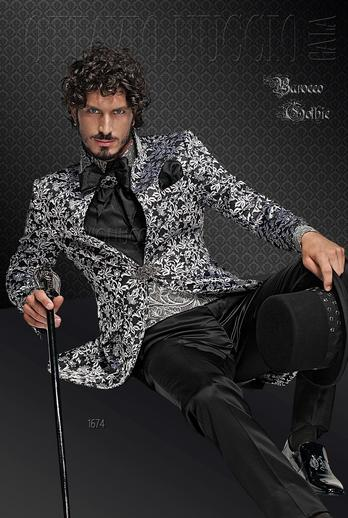 ONGala 1674 - Black and silver brocade mandarin collar tuxedo