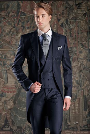 ONGala 1677 - Bright blue pure wool morning suit for groom