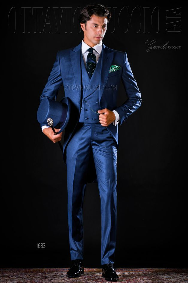 ONGala 1683 - Three piece blue morning suit