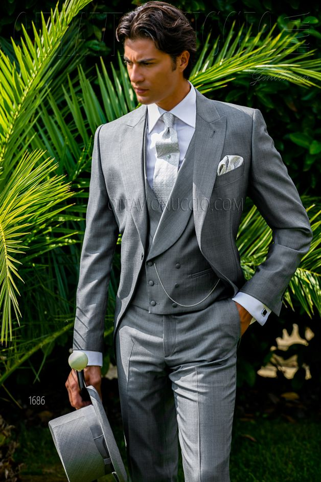 ONGala 1686 - Light sharkskin gray morning suit