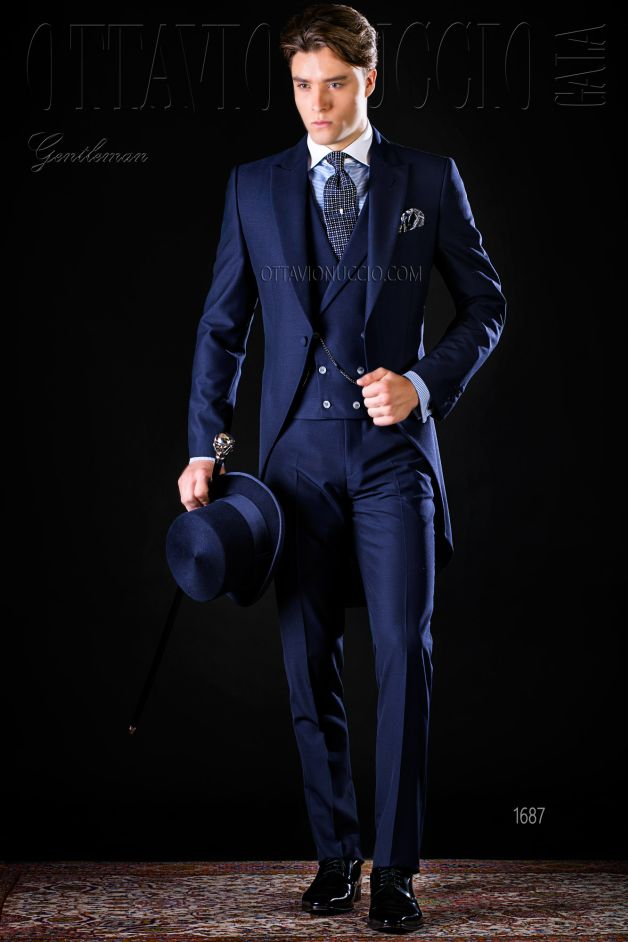 ONGala 1687 - Midnight blue long tail suit