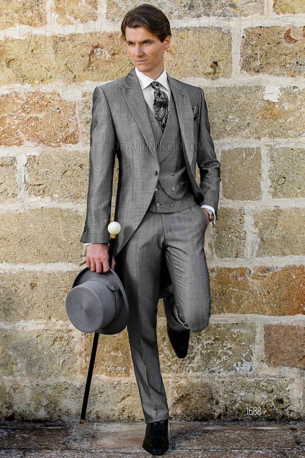 ONGala 1688 - Sharkskin gray peak lapel groom morning coat