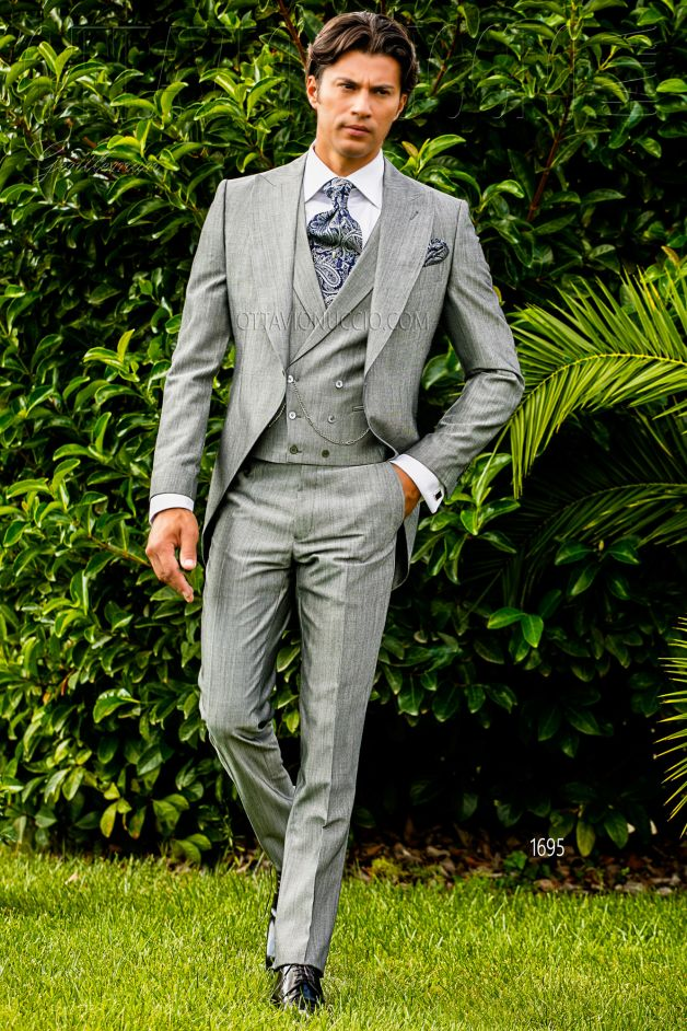 ONGala 1695 - Sharkskin gray Italian long tail suit