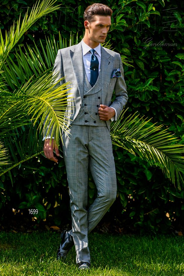 ONGala 1699 - Gray Prince of Wales long tail suit