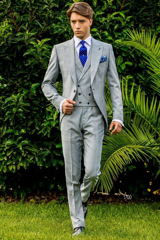 ONGala 1700 - Light gray Prince of Wales groom morning suit