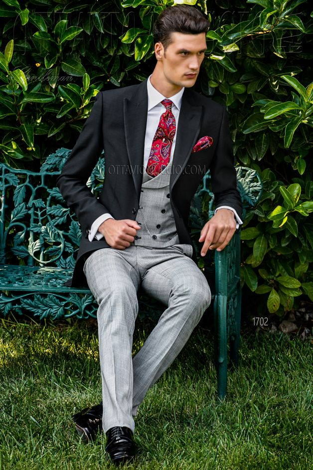 ONGala 1702 - Black and gray Italian morning suit