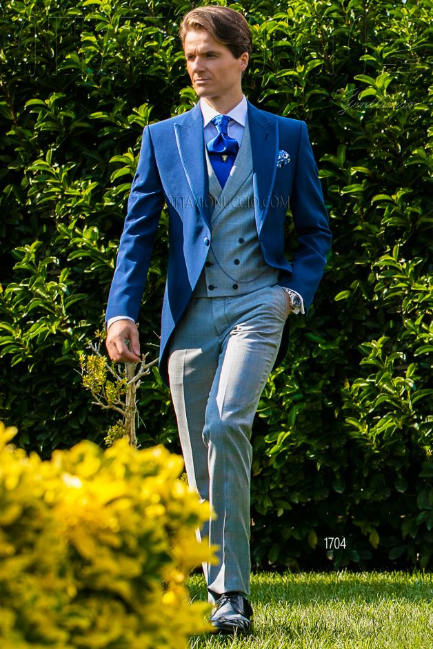 ONGala 1704 - Royal blue and gray peak lapel morning coat