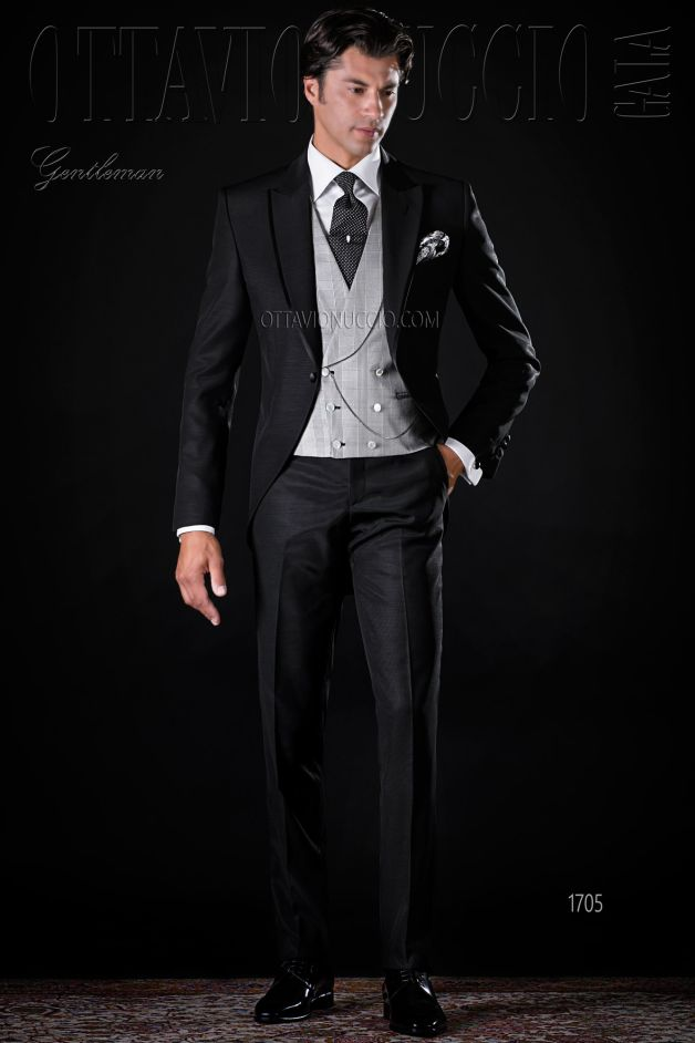 ONGala 1705 - Black peak lapel wedding tuxedo for groom
