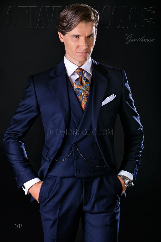 ONGala 1717 - Groom suit in midnight blue pure wool