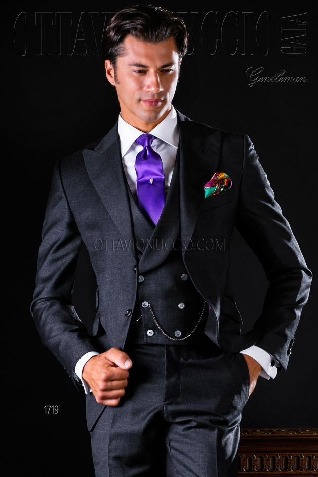 ONGala 1719 - Groom suit in charcoal gray pure wool