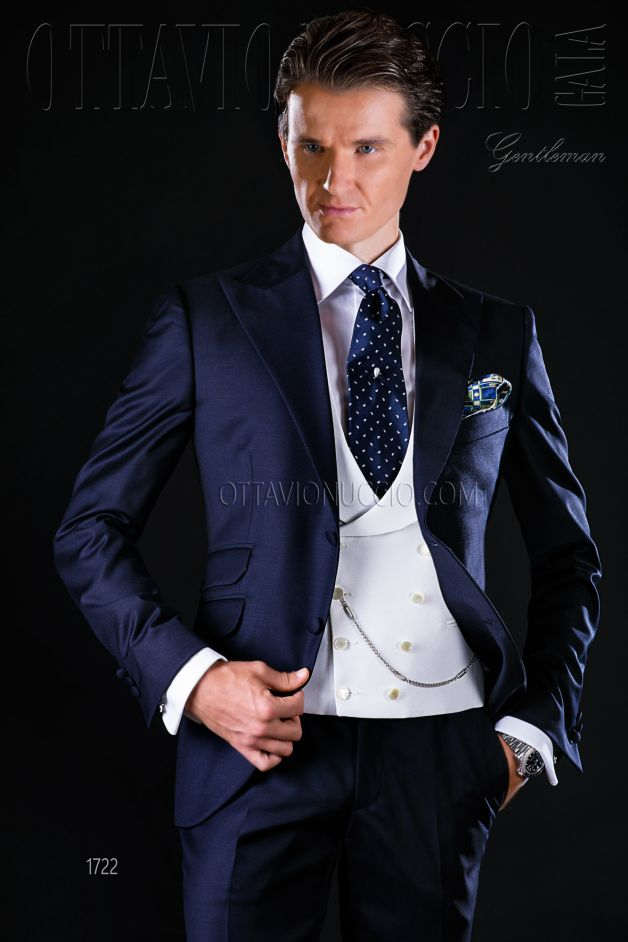 ONGala 1722 - Blue pure wool Italian formal business suit