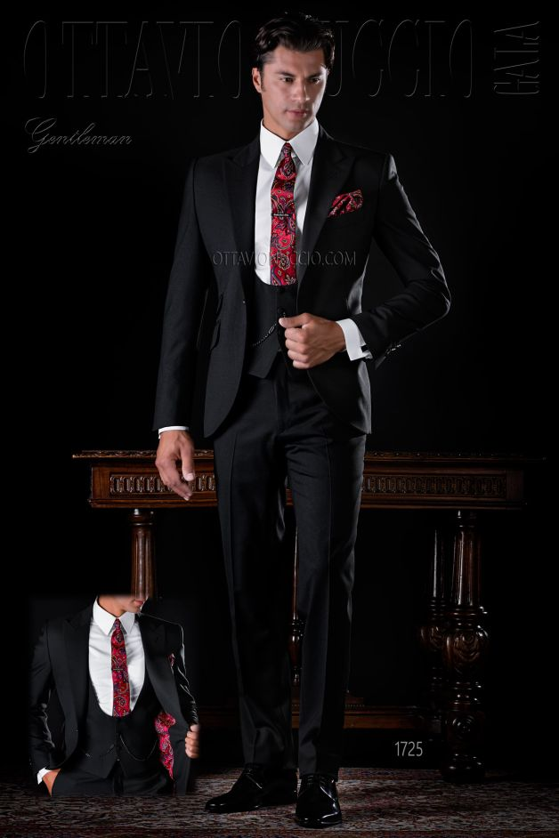ONGala 1725 - Black peak lapel Italian business suit