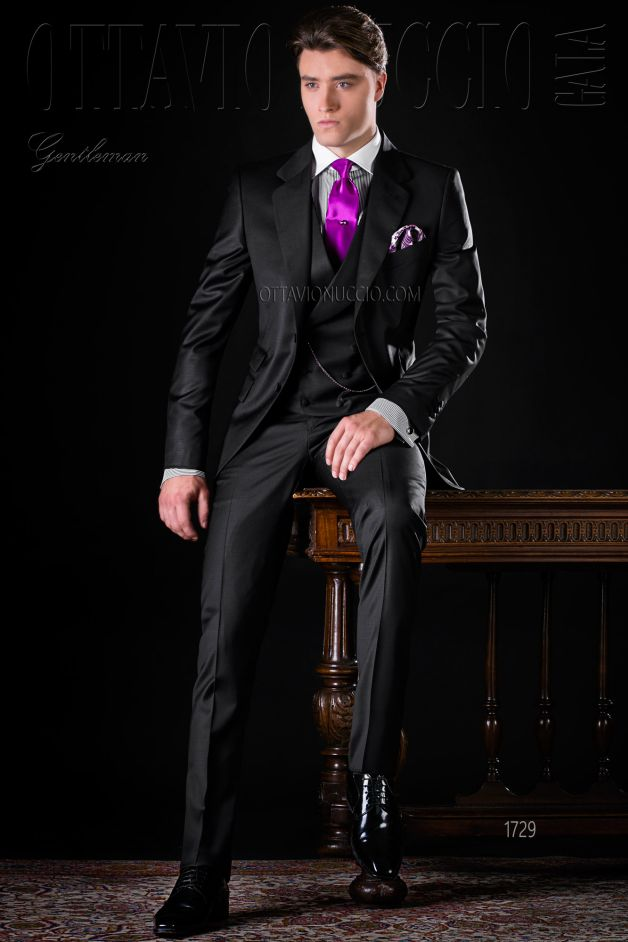ONGala 1729 - Black notch lapel Italian luxury formal suit