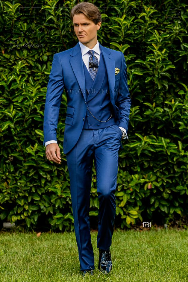 ONGala 1731 - Navy blue notch lapel groom suit