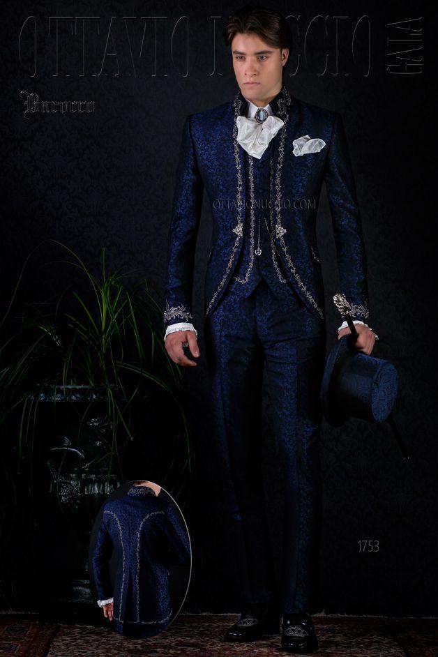 ONGala 1753 - Barocken Hochzeitsanzug bleue Brokat Stoff mit silber ...