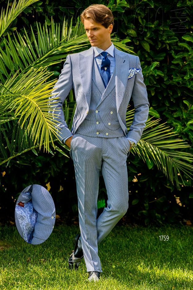 ONGala 1759 - Blue houndstooth Italian short tail suit
