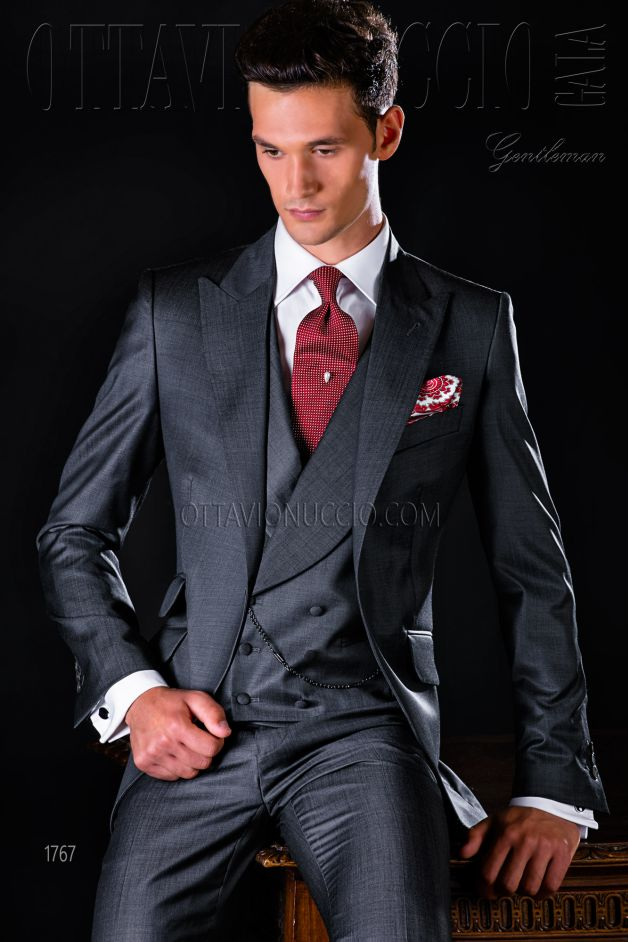 ONGala 1767 - Sharkskin charcoal gray peak lapel formal suit