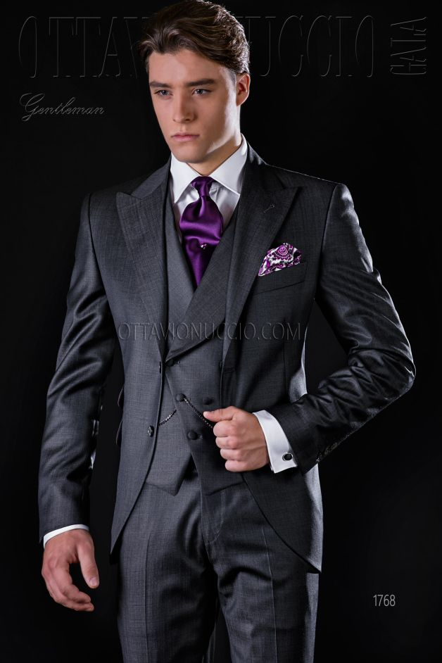 ONGala 1768 - Charcoal gray peak lapel Italian formal suit