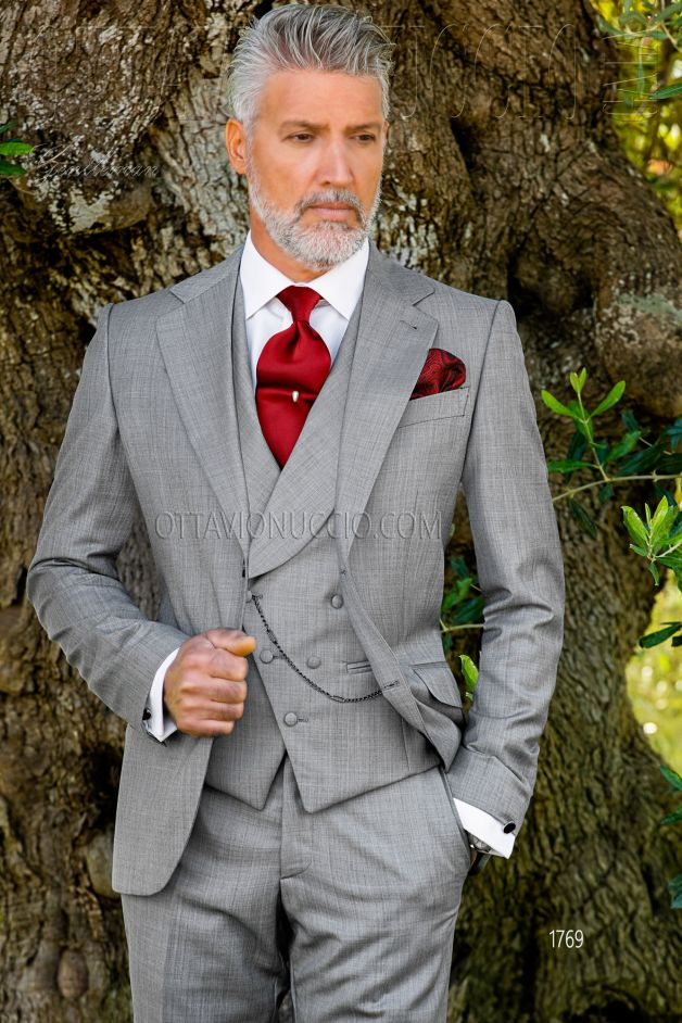 ONGala 1769 - Light gray notch lapel Italian groom suit