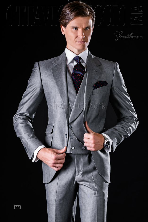 ONGala 1773 - Gray notch lapel luxury wool business suit