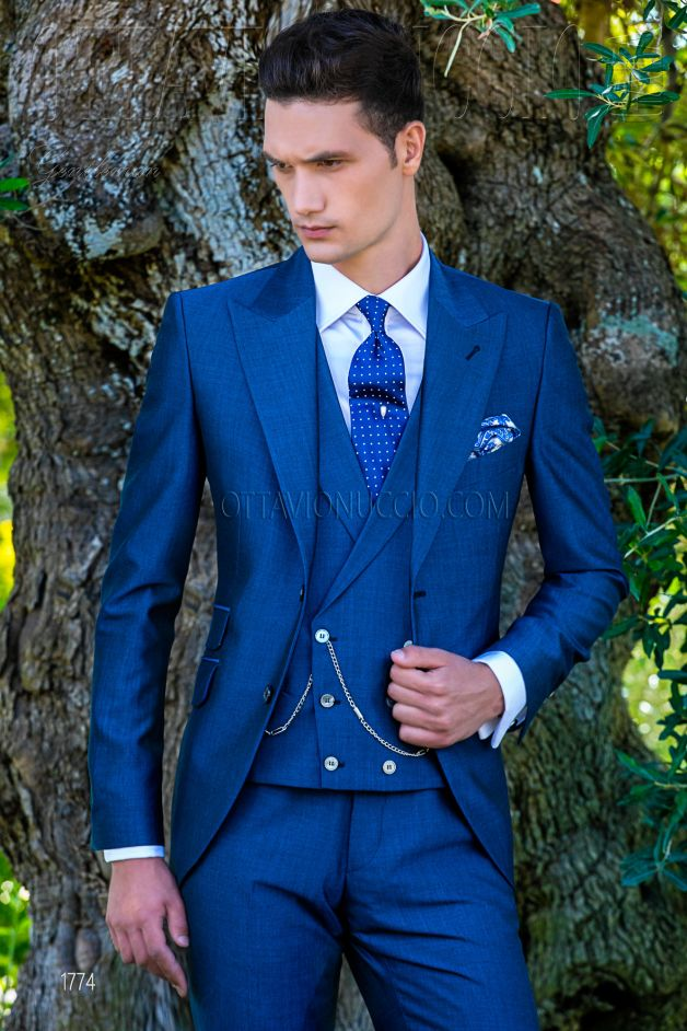 ONGala 1774 - Slim fit royal blue peak lapel formal suit