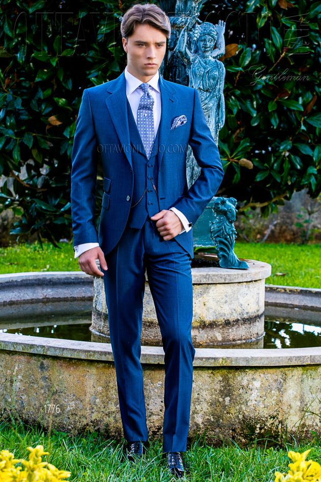 ONGala 1776 - Slim fit royal blue Italian wedding suit