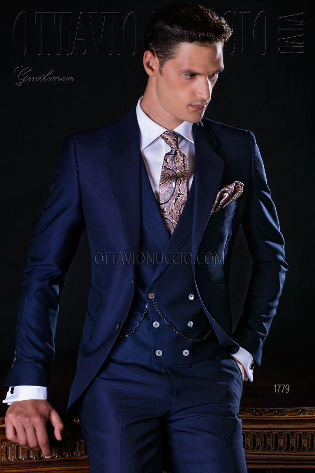 ONGala 1779 - Midnight blue mohair Alpaca wool groom suit