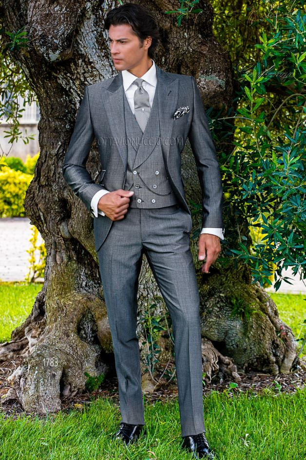 ONGala 1783 - Sharkskin gray peak lapel wedding suit