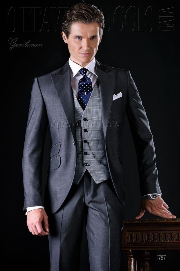 ONGala 1787 - Gray peak lapel Italian luxury formal suit