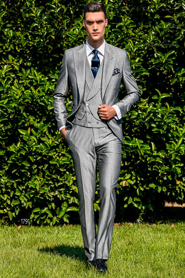 ONGala 1791 - Light gray peak lapel Italian luxury formal suit