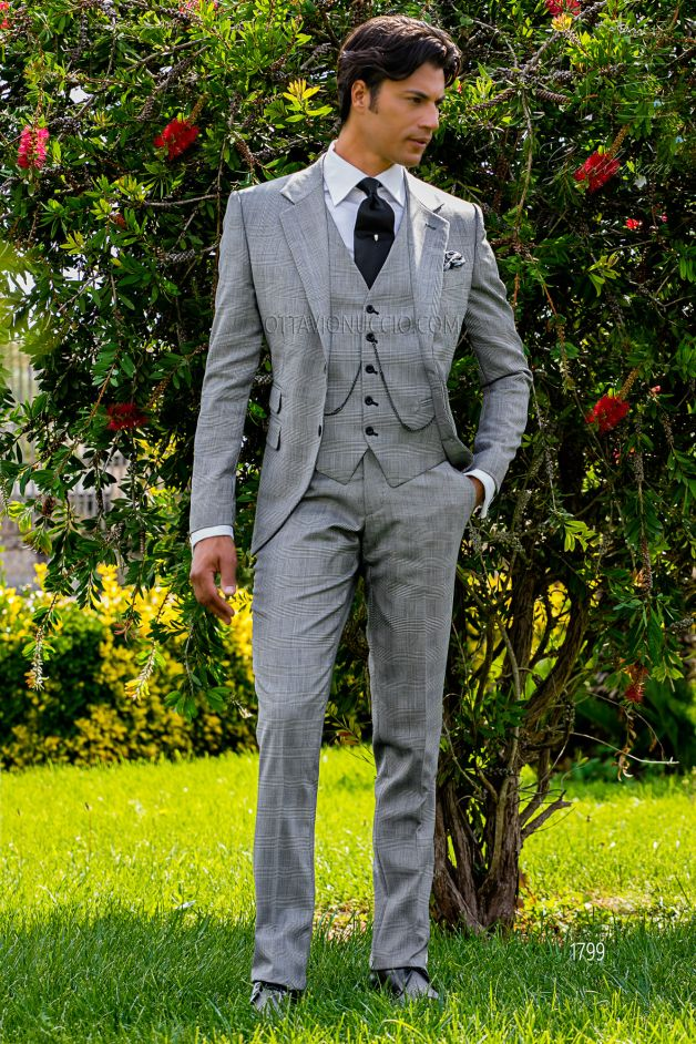 ONGala 1799 - Gray Prince of Wales Italian business suit