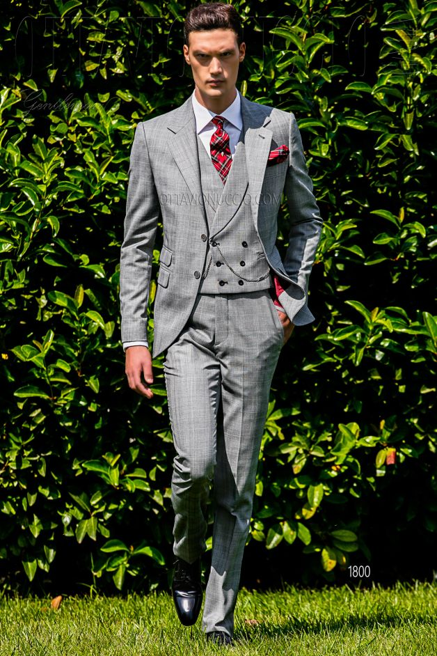ONGala 1800 - Gray and red Prince of Wales groom suit