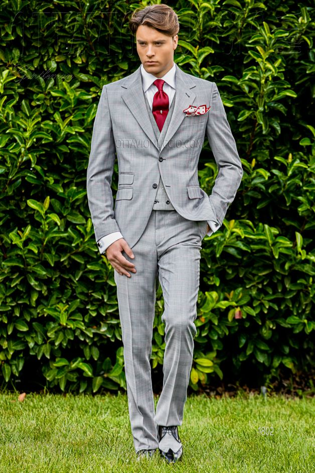 ONGala 1802 - Gray Prince of Wales notch lapel formal suit