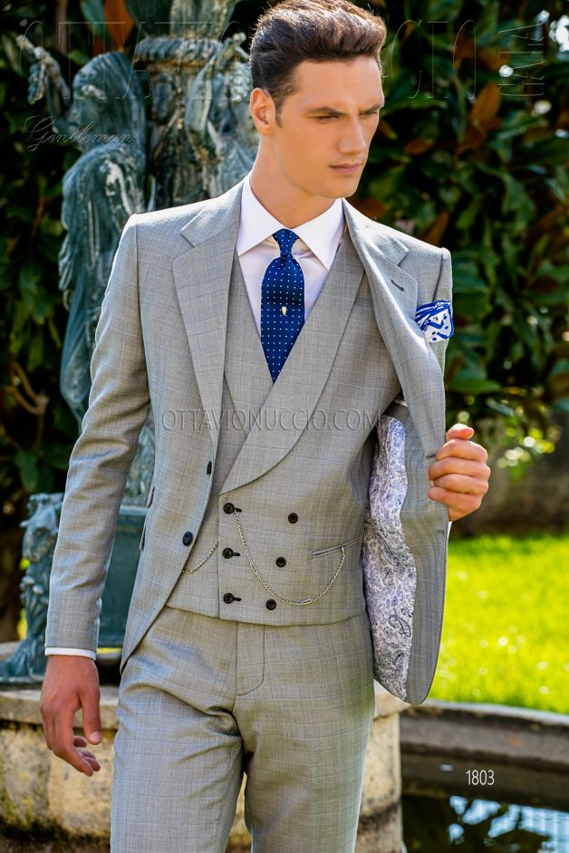 ONGala 1803 - Gray Prince of Wales Italian luxury groom suit