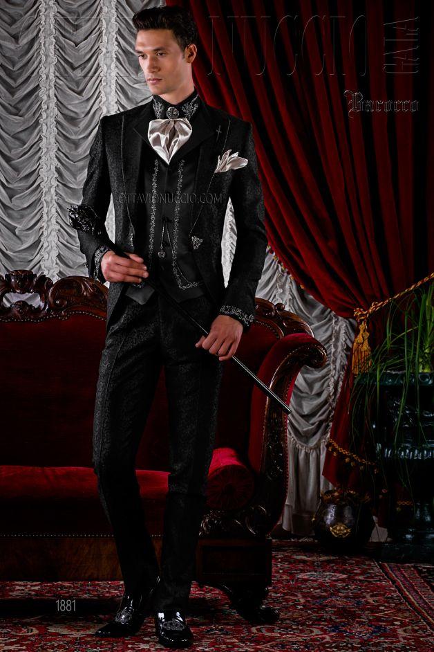 Gothic Hochzeitsanzug schwarz aus Brokat Stoff mit Strass Kristall