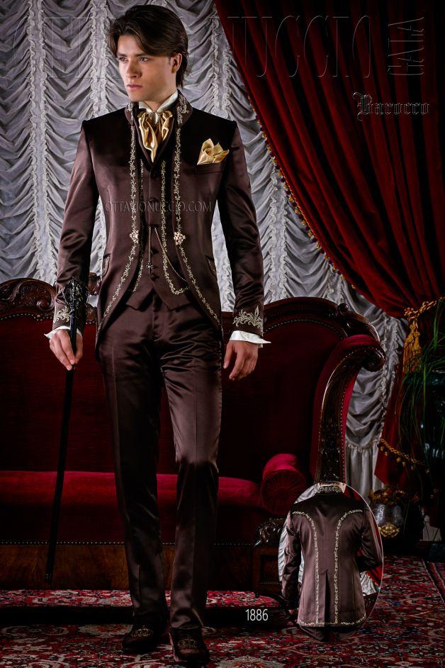 ONGala 1886 - Barocken Hochzeitsanzug Gehrock braun mit golden ...