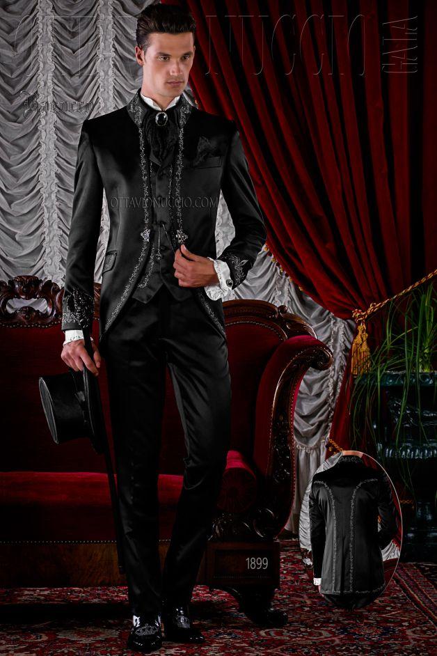ONGala 1899 - Schwarze Gothic Hochzeitsanzug mit silber Stickerei