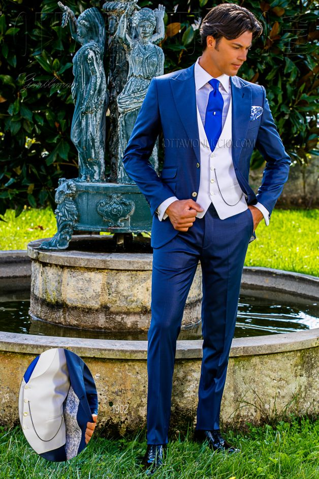 ONGala 1902 - Royal blue peak lapel wedding suit for groom