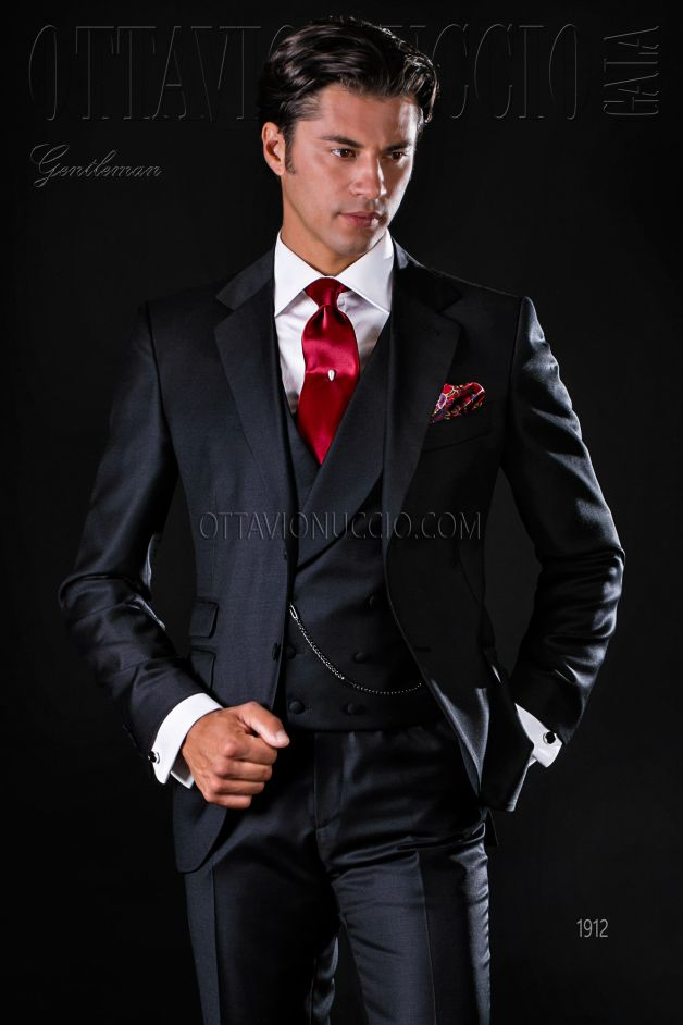 ONGala 1912 - Pure wool black Italian formal suit