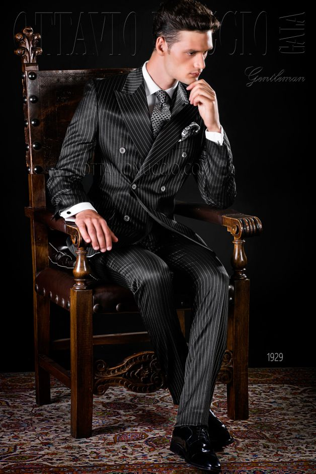 ONGala 1929 - Pinstriped black double breasted formal suit