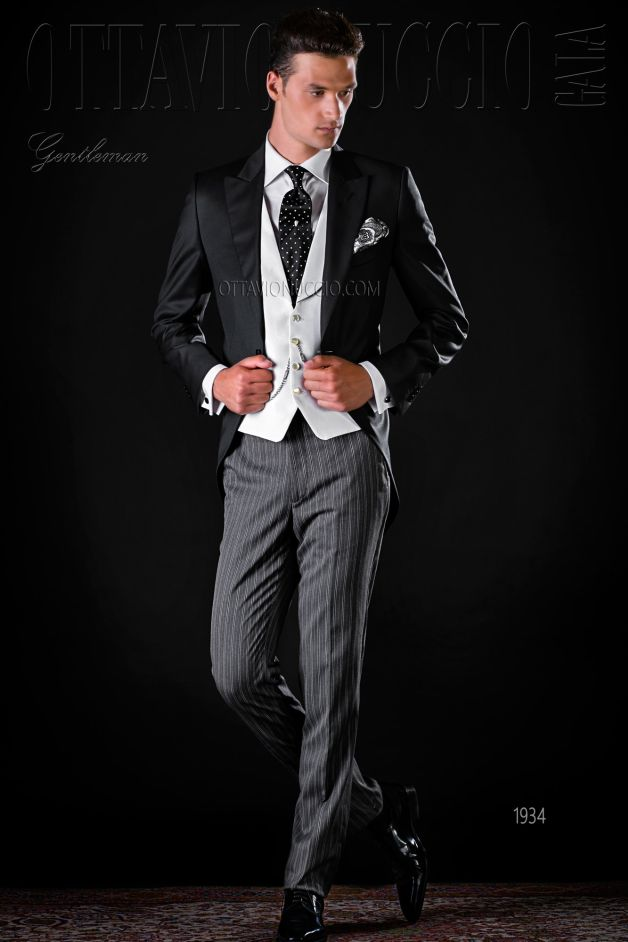 ONGala 1934 - Wool black long tail jacket and striped pants