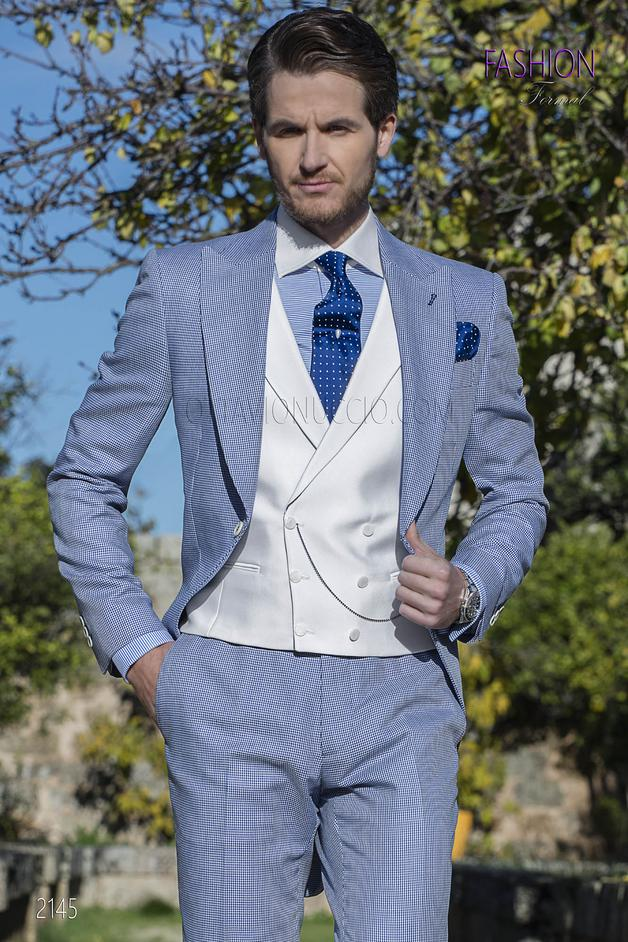 ONGala 2145 - Morning suit in blue hound's tooth fabric with white vest