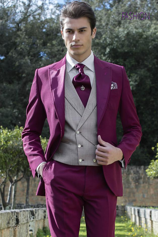ONGala 2169 - Fashion groom suit in burgundy wool blend in italian style