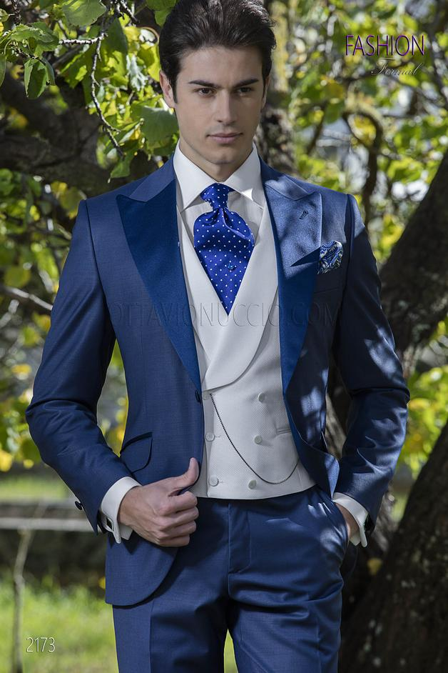 ONGala 2173 - Blue italian suit for groom in wool blend with satin lapel
