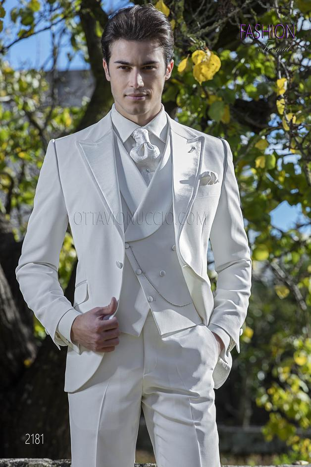 ONGala 2181 - Italian frock coat suit for groom in ivory wool blend fabric