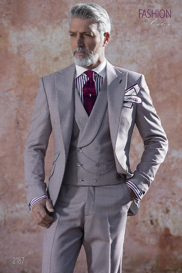 ONGala 2187 - Italian summer groom suit in burgundy hound's tooth fabric