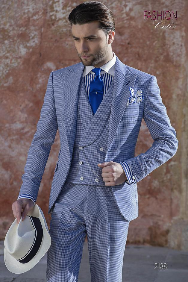 ONGala 2188 - Italian wedding suit in blue hound's tooth cool fabric