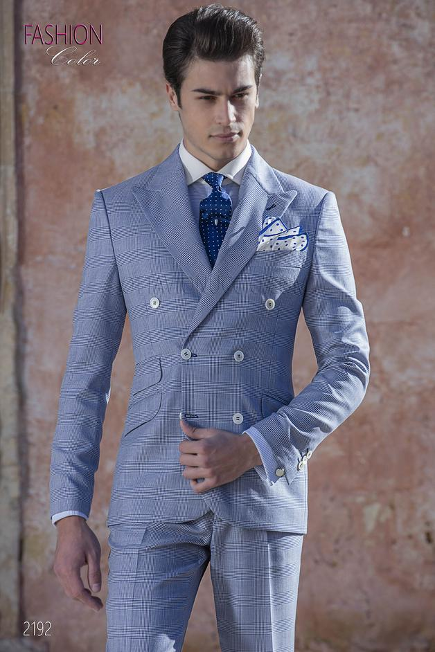ONGala 2192 - Blue Prince of Wales double breasted italian wedding suit