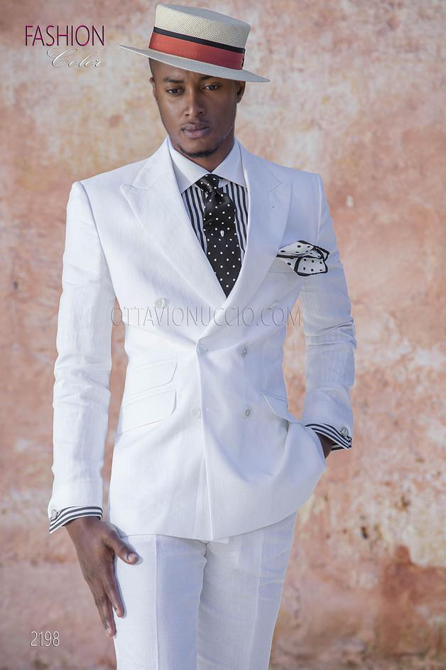 ONGala 2198 - White double-breasted italian wedding suit in linen for summer