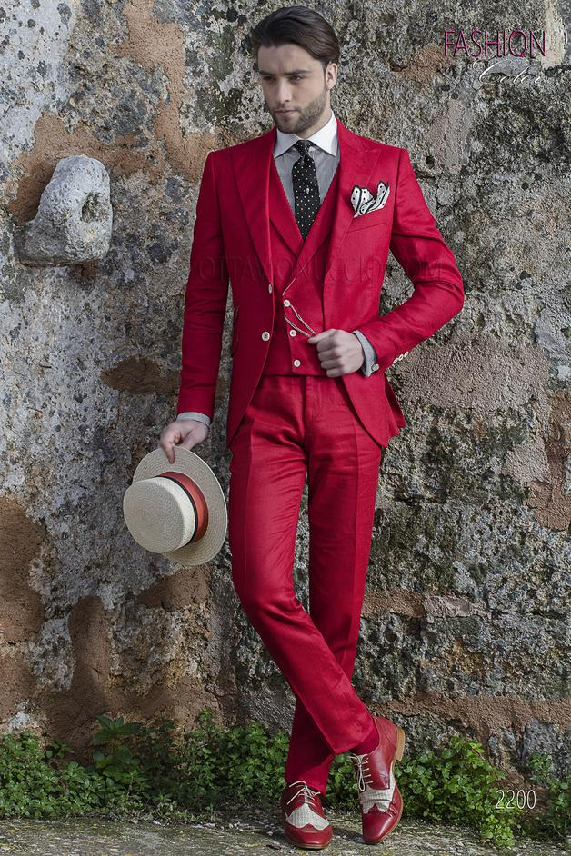 ONGala 2200 - Italian wedding hippy suit for men in red linen